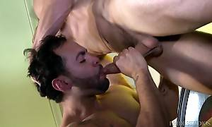 These two sexy men roll around in bed rimming, sucking and f...