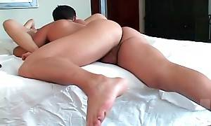 Turned on stud hungrily tongues girlfriend`s juicy cunt.