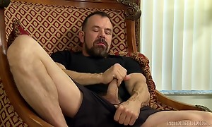 Max then sucks Stevens cock for a while before bending him over and rimming his ass. He then takes his big thick cock and slowly drives it deep into Steven`s eager ass. Max starts slow and increases the intensity as he fucks Steven on the chair in a coupl