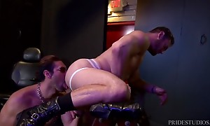 Alexander then bends Ace over a sex bench and rims his ass w...