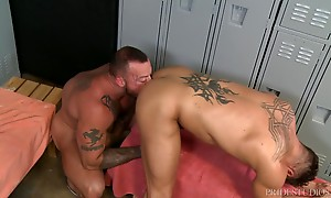 Sean bends Bryce over revealing his smooth hole and he burie...
