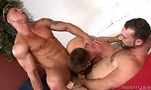 Bryce then move to Hans`s big fat dick and sucks him while H...