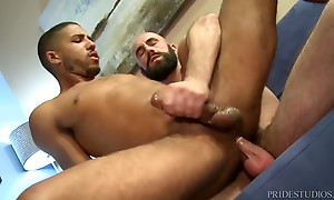 Mike drops to his knees and starts sucking Lex`s big cock. L...