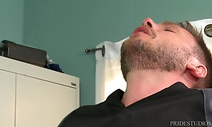 Once his ass is all wet, Jace spits on his cock and starts f...