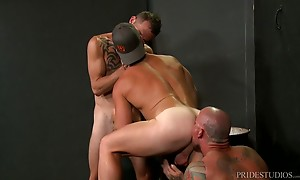 Three sexy studs are ready to fuck so they position themselves in train style with Sean in the middle and Jimmie in the back.