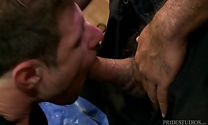 Once his ass is dripping with saliva Alessio shoves his thro...