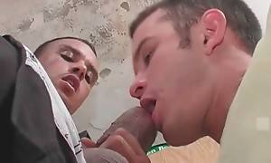 Tough Latin guy gets his big boner sucked by his cute friend.