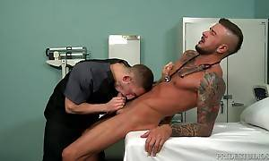 The two swap bjs on the patient table and then Dolf bends Br...